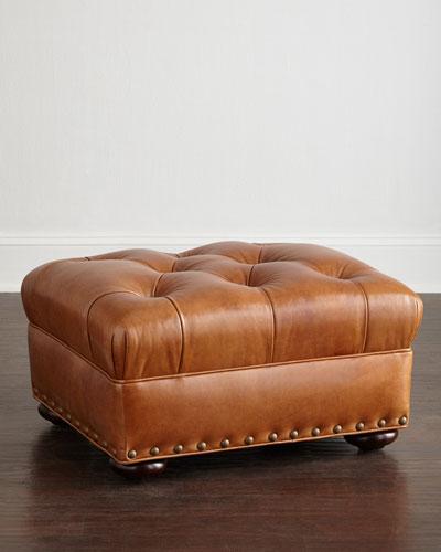 Lansbury Tufted-Leather Ottoman