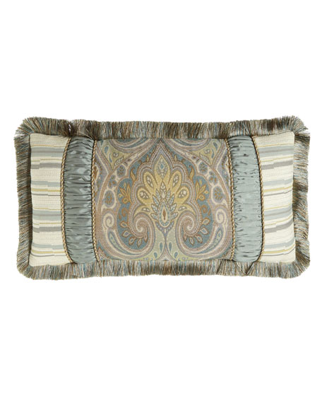 """Austin Horn Collection Cannes Pieced Pillow, 13"""" x 26"""""""