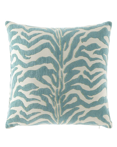 Aqua Zebra-Print Outdoor Pillow