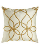 """Ivory Silk Pillow with Gold Beading, 22""""Sq."""