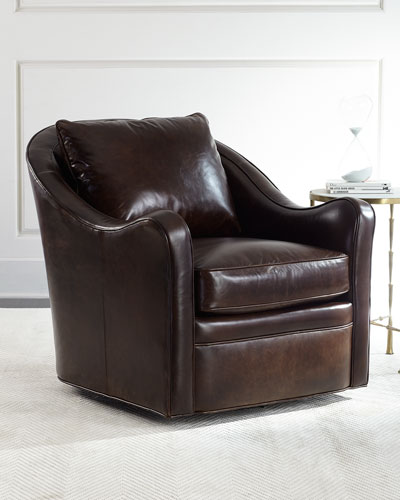 Fawn Leather Swivel Chair