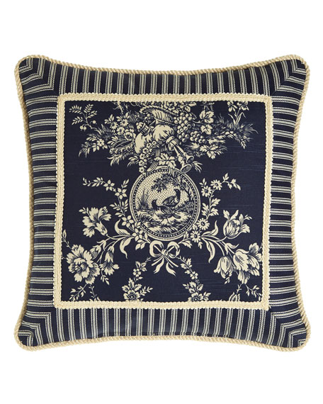 "Sherry Kline Home Country Toile Pillow with Striped Frame, 19""Sq."