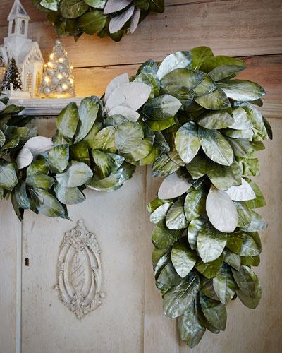 Green & Silver Magnolia Leaf 6' Garland