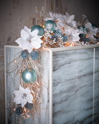 Ice Blue & Silver Pre-Lit 6' Christmas Garland