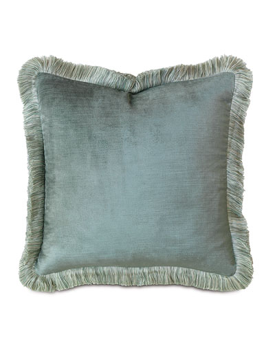 Central Park Fringed Velvet Pillow, 18