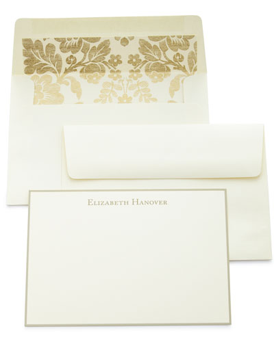 Correspondence Cards Hand Bordered in Taupe with Plain Envelopes