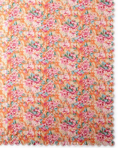 Floral-Print Tablecloth, 90