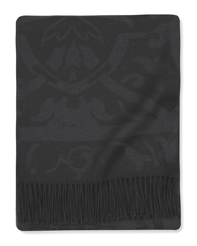 Black Damask Throw, 50