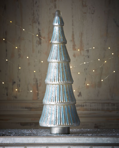 Mercury-Glass Silver-Blue Flared, Ribbed Tree