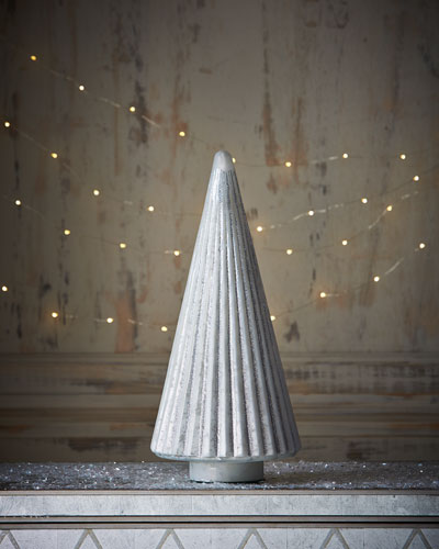 Mercury-Glass Silver Ribbed Tree