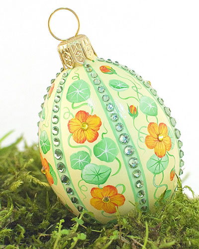 Striped Egg Nasturtium Medium Ornament