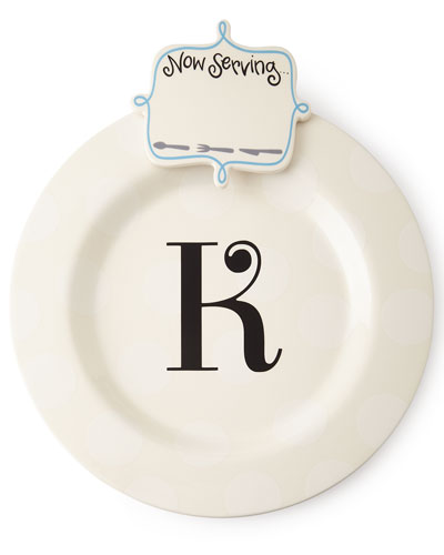 Happy Everything Big Platter with Now Serving Attachment, Monogrammed