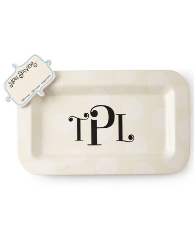 Happy Entertaining Mini Platter with Now Serving Attachment, Monogrammed
