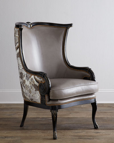 Candice Leather Wing Chair