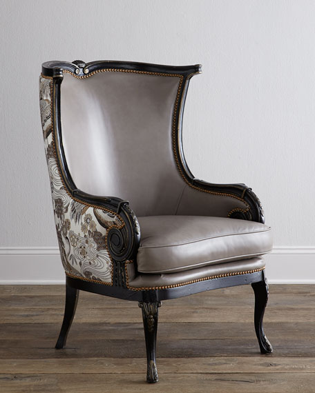 Massoud Candice Leather Wing Chair