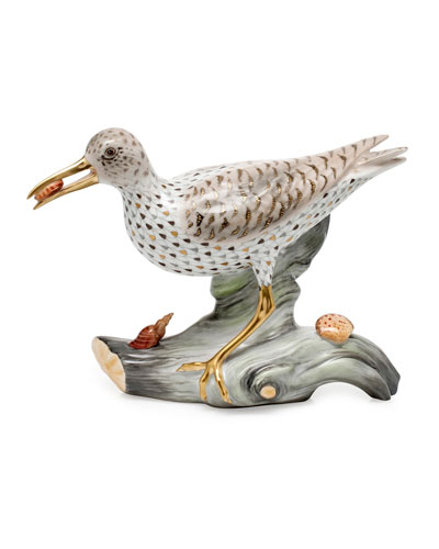 Spotted Sandpiper on Driftwood Figurine