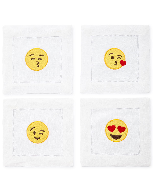 Emoji Flirty Cocktail Napkins, 4-Piece Set