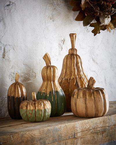Carved-Wood Pumpkins & Gourds, 5-Piece Set