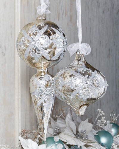 Mercury-Glass Onion Christmas Ornament