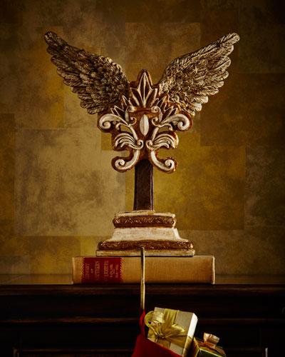 Winged Fleur-de-Lis Crest Christmas Stocking Holder