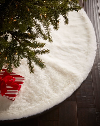 Faux-Fur White Mink Christmas Tree Skirt
