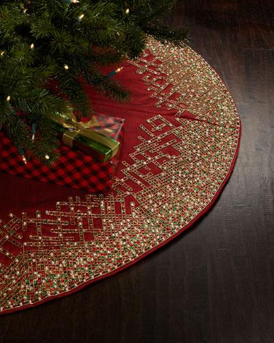 Ombre Grid Christmas Tree Skirt