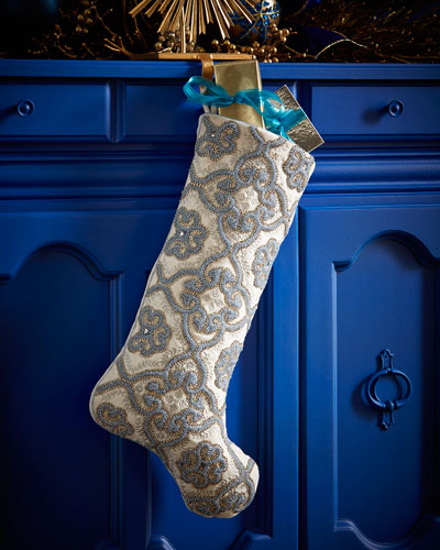 Floral Gate Christmas Stocking