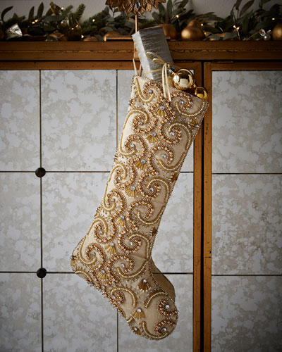 Champagne Scroll Christmas Stocking