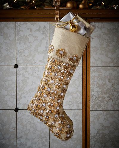 Champagne Pearl Fringe Christmas Stocking
