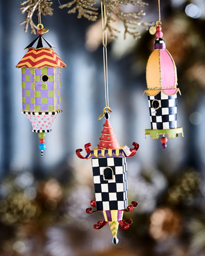 Birdhouse Christmas Ornaments, 3-Piece Set