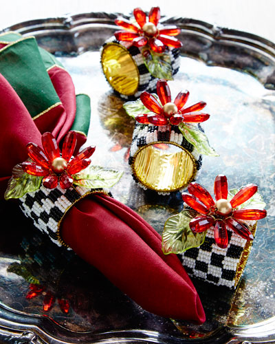 Poinsettia Napkin Rings, Set of 4