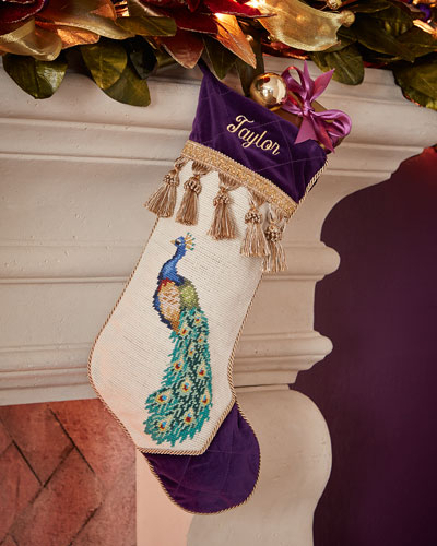 Left-Facing Peacock Needlepoint Christmas Stocking
