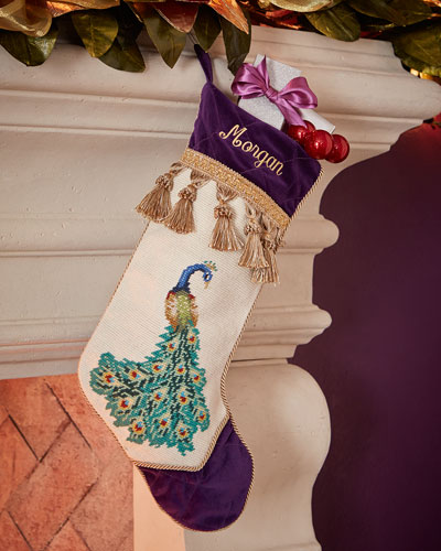 Right-Facing Peacock with Fanned Tail Needlepoint Stocking