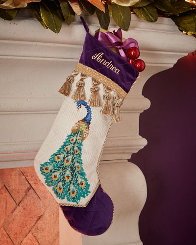 Left-Facing Peacock with Fanned Tail Needlepoint Stocking