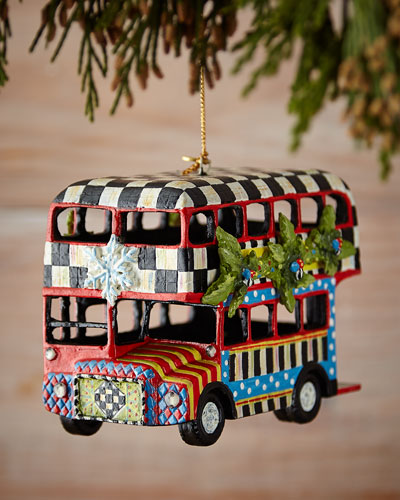 Double Decker Bus Christmas Ornament
