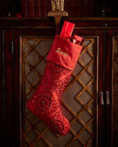 Red Medallion Beaded Christmas Stocking