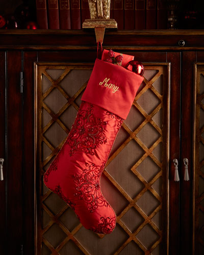 Red Snowflake Beaded Christmas Stocking