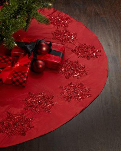 Red Beaded Christmas Tree Skirt