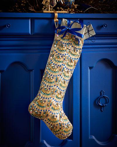 Peacock Fringe Christmas Stocking