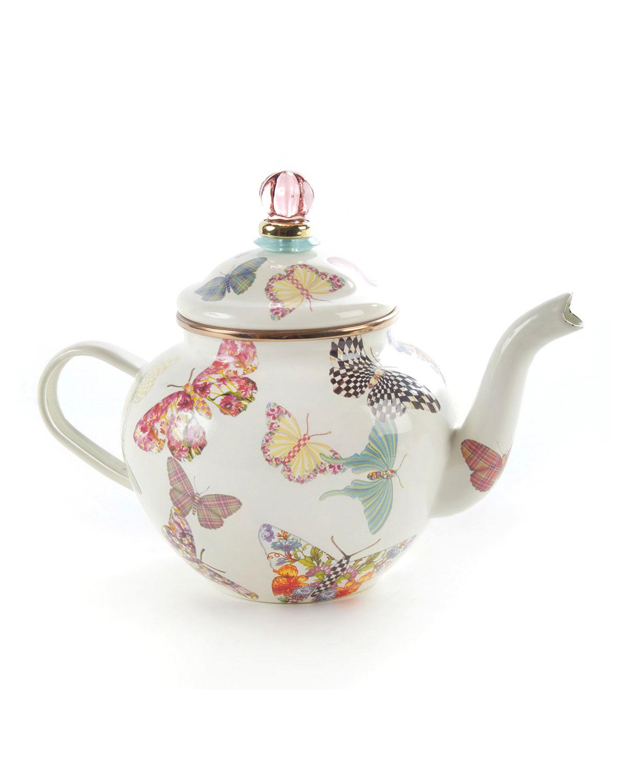 White Butterfly Garden 4-Cup Teapot