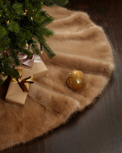 Faux-Mink Christmas Tree Skirt