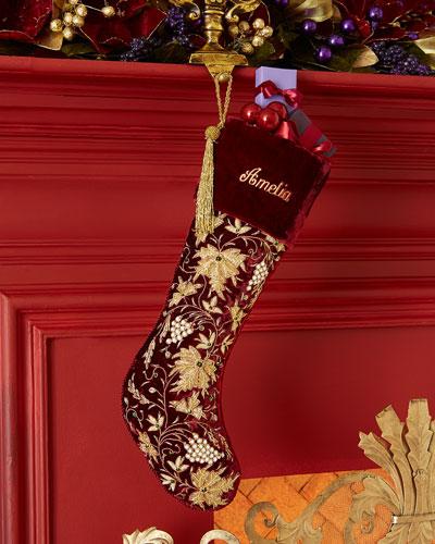 Burgundy Velvet Christmas Stocking