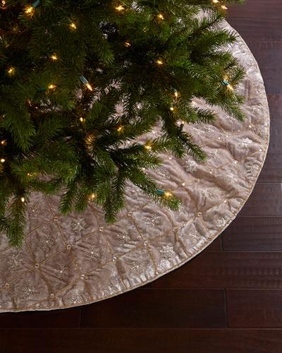 Silver Velvet Christmas Tree Skirt