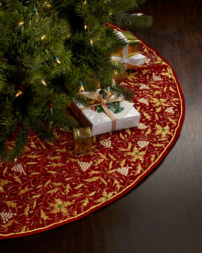 Red & Gold Embroidered Christmas Tree Skirt