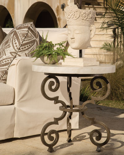Hemingway Outdoor Florentine Round End Table