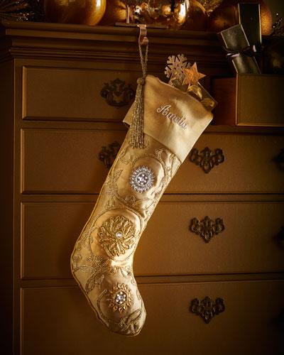 Golden Beaded Christmas Stocking