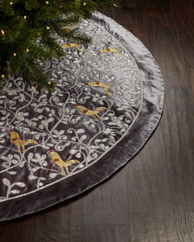 Silver Christmas Tree Skirt with Partridge Motif