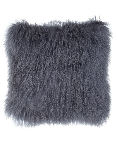 Steel Gray Tibetan Lamb Pillow