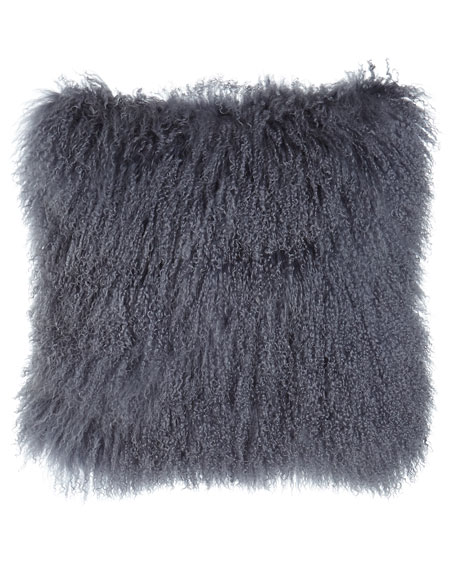 Massoud Steel Gray Tibetan Lamb Pillow