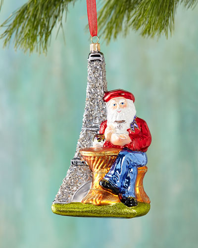 Santa with Eiffel Tower Christmas Ornament